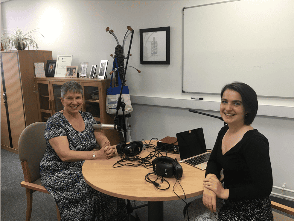 Elif interviewing Professor Greta Defeyter for her podcast 'Deprivation Discourse'